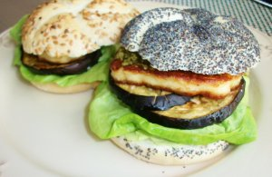 DINNER-PAL Haloumi And Eggplant Burgers