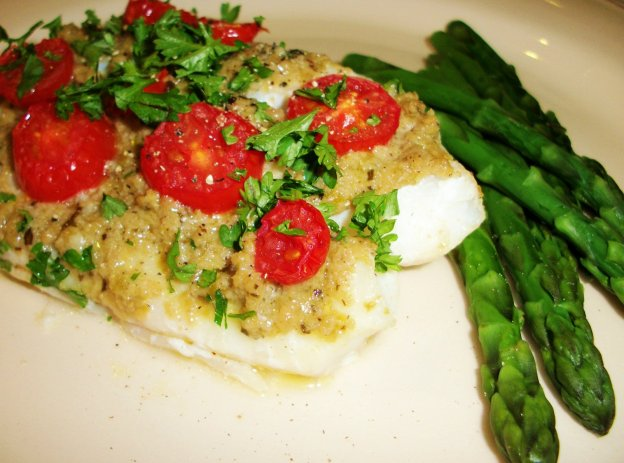 DINNER-PAL Roasted Cod With Tapenade And Cherry Tomatoes